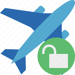 airplane, flight, plane, transport, travel, unlock icon