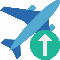 airplane, flight, plane, transport, travel, upload icon