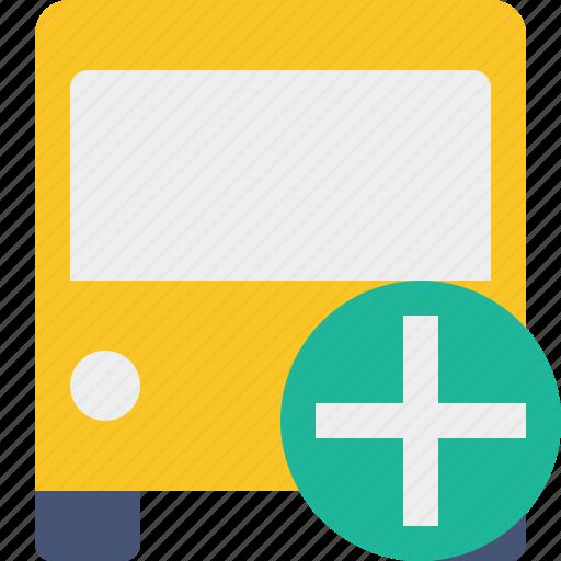 add, bus, public, transport, transportation, travel, vehicle icon