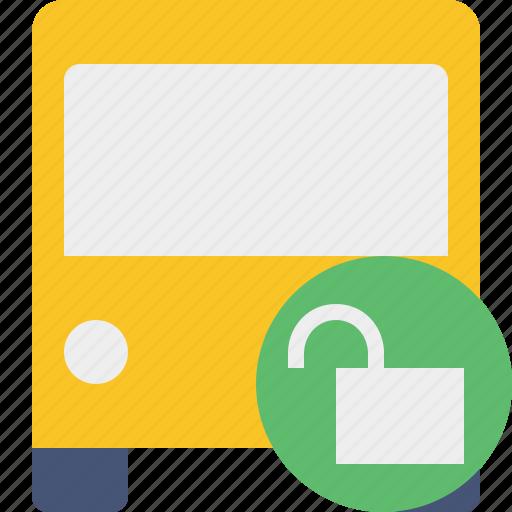 bus, public, transport, transportation, travel, unlock, vehicle icon