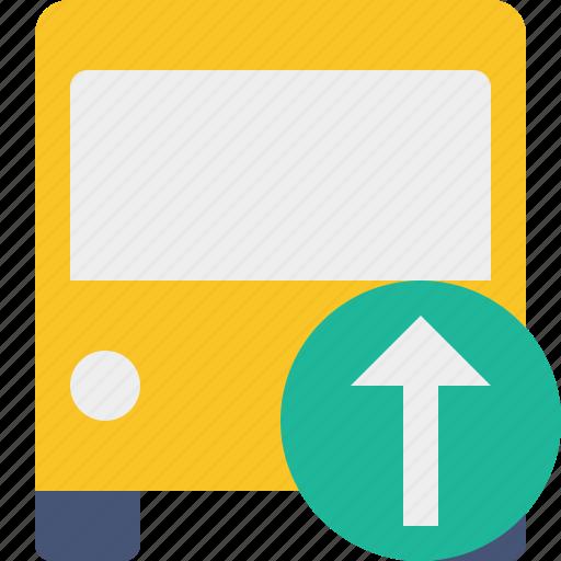 bus, public, transport, transportation, travel, upload, vehicle icon