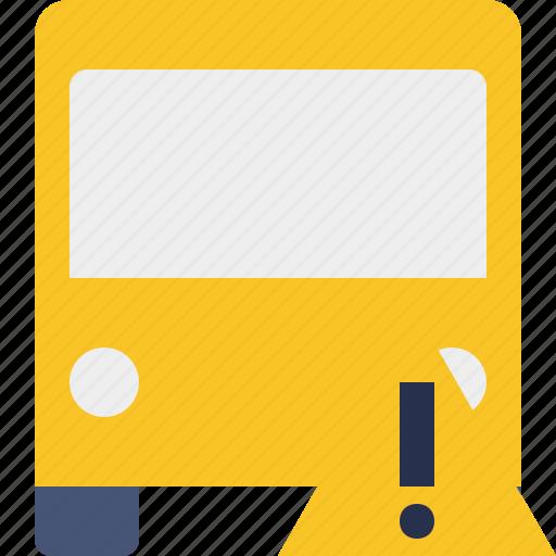 bus, public, transport, transportation, travel, vehicle, warning icon