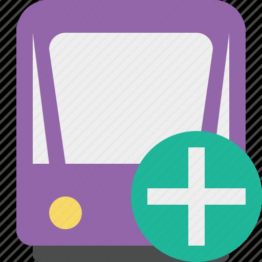 add, public, train, tram, tramway, transport icon