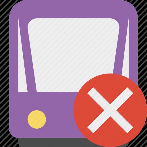 cancel, public, train, tram, tramway, transport icon