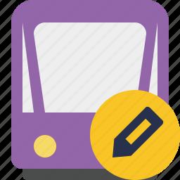 edit, public, train, tram, tramway, transport icon