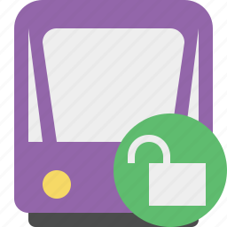 public, train, tram, tramway, transport, unlock icon