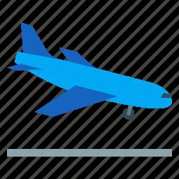 aeroplane, aircraft, airplane, flight, landing, plane, travel icon