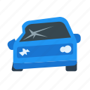accident, car, crashed, crashed car, insurance icon