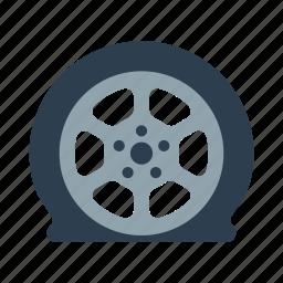 flat, tire, tire service, wheel icon
