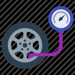 car, flat tire, repair, tire, tire pressure, tire service, wheel icon