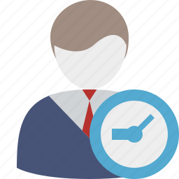 account, business, client, clock, office, user icon