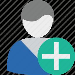 account, add, male, profile, user icon