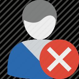 cancel, close, delete, male, user icon