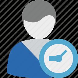 account, clock, male, profile, user icon