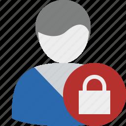 account, lock, male, profile, user icon
