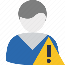 account, male, profile, user, warning icon