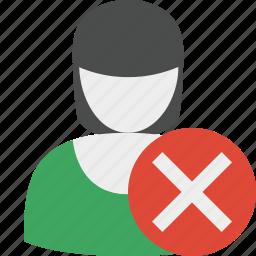 account, cancel, delete, female, profile, user, woman icon