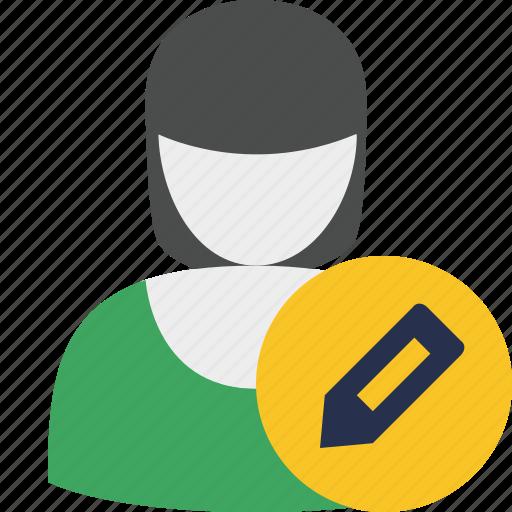 account, edit, female, profile, user, woman icon