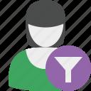 account, female, filter, profile, user, woman icon