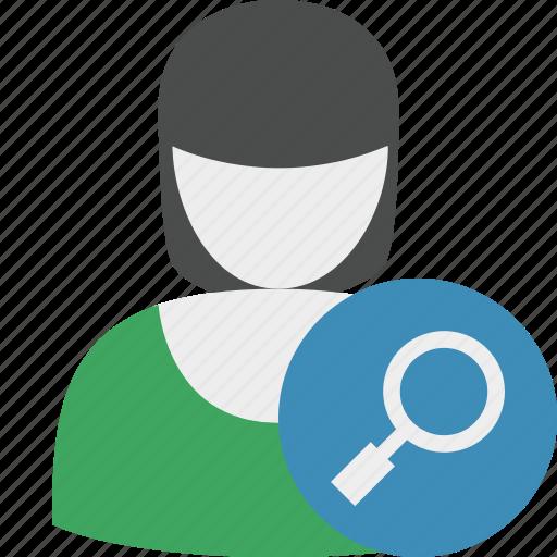 account, female, profile, search, user, woman icon
