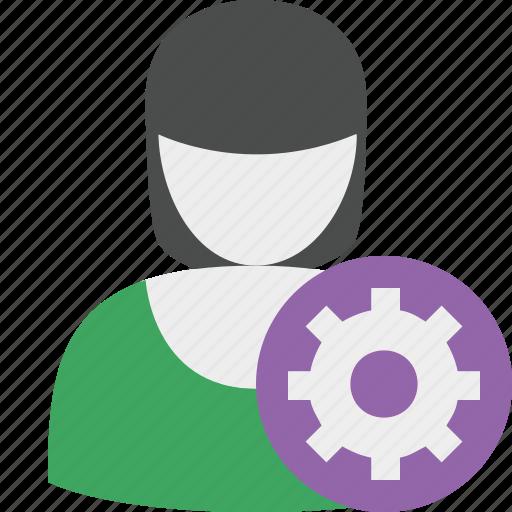 account, female, options, profile, settings, user, woman icon