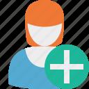 add, user, woman, profile