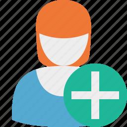 add, profile, user, woman icon