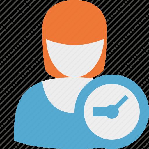 account, clock, female, profile, user, woman icon