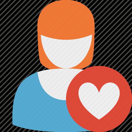 account, favorites, female, profile, user, woman icon