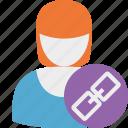 account, female, link, profile, user, woman icon