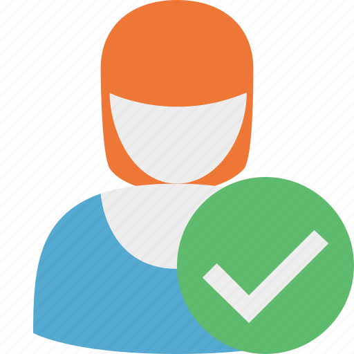 account, female, ok, profile, user, woman icon