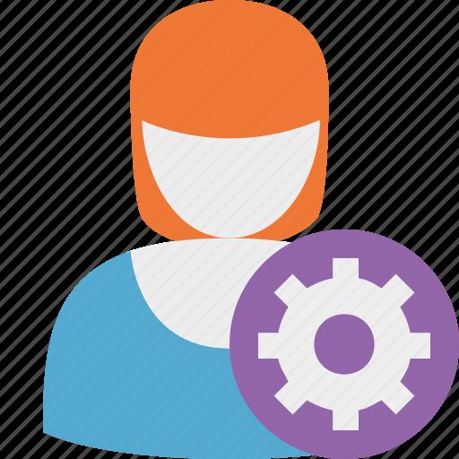 account, profile, settings, user, woman icon