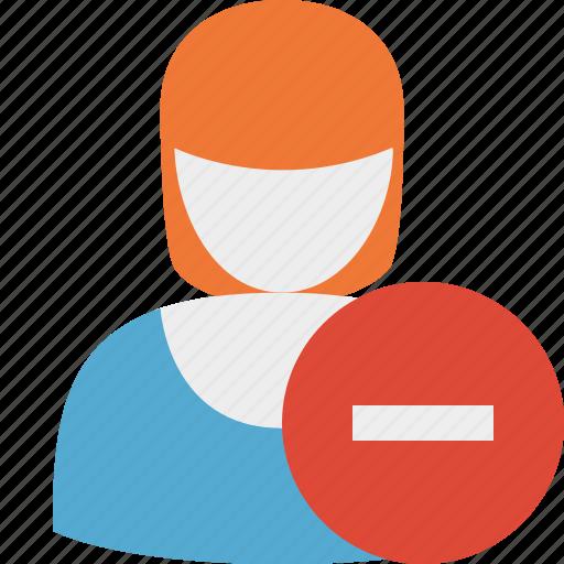 account, female, profile, stop, user, woman icon