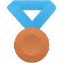 award, badge, blue, bronze, metal, prize, winner icon