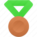 award, badge, bronze, green, metal, prize, winner icon