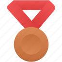 award, badge, bronze, metal, prize, red, winner icon