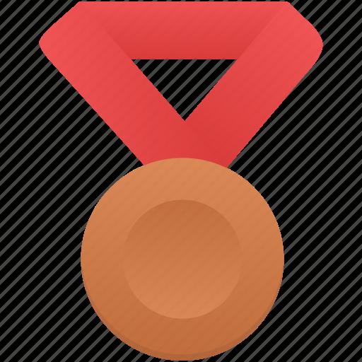 award, badge, bronze, metal, prize, red, winner icon