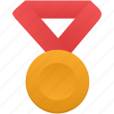 award, gold, medal, metal, prize, red, winner icon