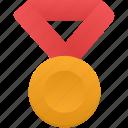 gold, metal, red, award, medal, prize, winner