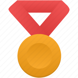 award, gold, medal, metal, prize, red, winner icon