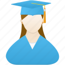female, girl, graduate, school, student, study, woman icon