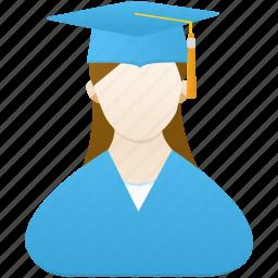 female, girl, graduate, school, student, study, woman icon