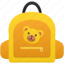 bag, bear, education, girl, schoolbag, student, study icon