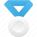 award, blue, medal, metal, prize, silver, winner icon