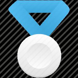 award, blue, medal, metal, prize, silver, winner icon
