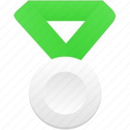 award, badge, green, medal, metal, prize, silver icon