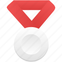 award, badge, medal, metal, red, silver, winner icon