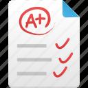 document, paper, test, excellent icon