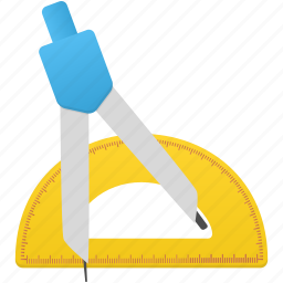 compasses, math, ruler, semicircle ruler, study, tool, tools icon