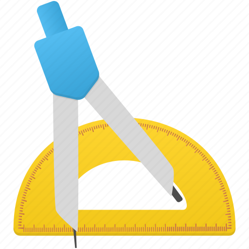 compasses, math, ruler, semicircle ruler, study, tool, tools icon